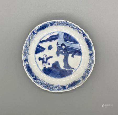 Blue and White Lobed Dish of Mother and dancing child