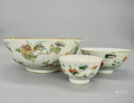 Group of Famille Rose Insect bowls and cups