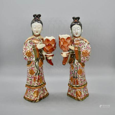 Pair of Famille Rose Candlestick holders