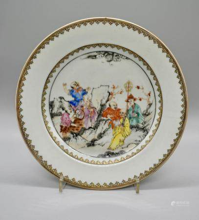 Luohan 6 Figure Famille Rose Dish