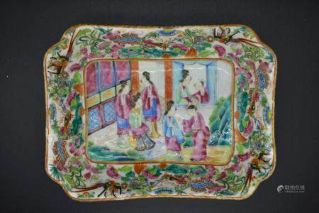 Canton Enamel Famille Rose Rectangular Dish of Ladies in Court Scene