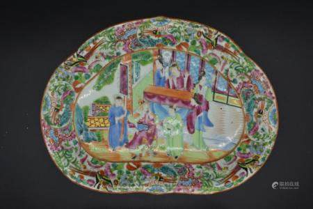 Canton Enamel Famille Rose Lobed Kidney Shaped Dish of Court Scene with warrior