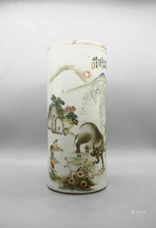 A Large Chinese Hat Stand of the boy taming the ox with Chinese poem