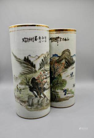 A Large Pair of Landscape Hat Stands with Chinese poem