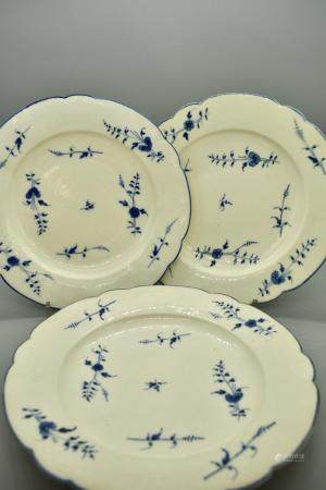 French Three Chantilly Porcelain Dessert Plates