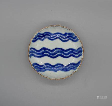 Blue and white Wave Design Dish