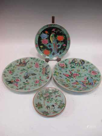 A pair of Chinese plates, the mint green bodies decorated with butterflies and flowers, a smaller