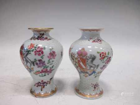 A pair of French Samson armorial vases in the Chinese style