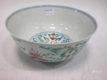 A Chinese doucai porcelain bowl, Xianfeng mark but probably later(17.2cm diameter 8cm high)
