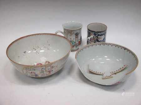 Two 18th century Chinese polychrome mugs and two large bowls