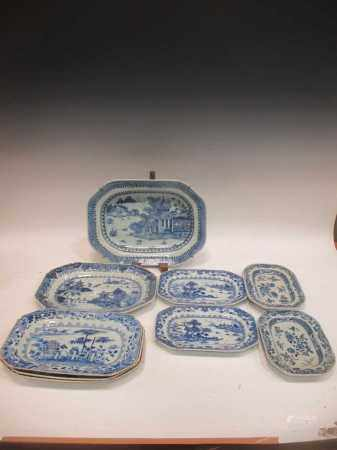 A group of Chinese 18th century blue and white