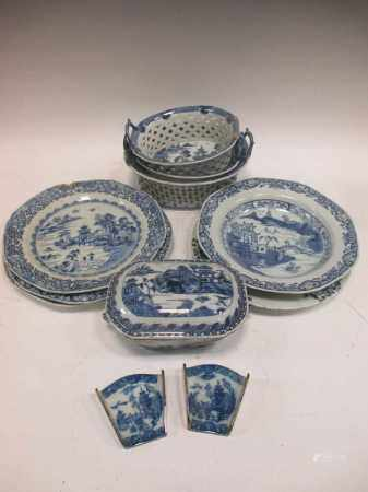 Three Chinese export blue and white chestnut baskets and a small boars head tureen and cover,