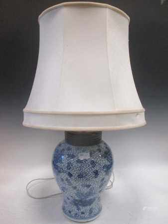 A Chinese blue & white inverted baluster jar, now as a lamp