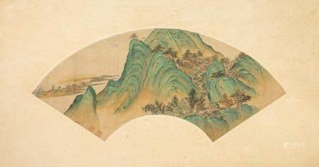 WEN QIQIU (1862-1941), LANDSCAPE FAN PAINTING