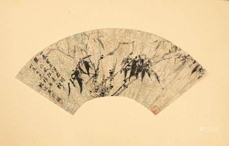 CHINESE FAN PAINTING, BAMBOO AND ROCK