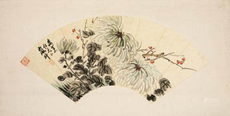 CHINESE FAN PAINTING, CHRYSANTHEMUMS