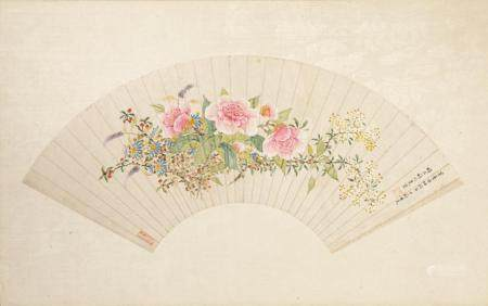 CHINESE FAN PAINTING, FLOWERS