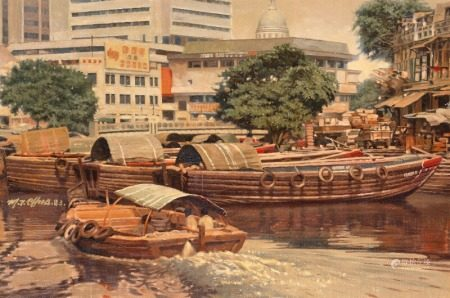 Mia Tee Chua     (b. China 1931)     Singapore harbour with barges, in the background the dome of Church St. Teresa. Signed M. T. Chua and dated 83. Oil on canvas. 61×91 cm.