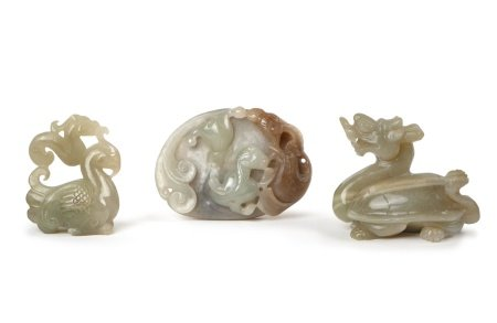 THREE WHITE AND BROWN JADE PIECES