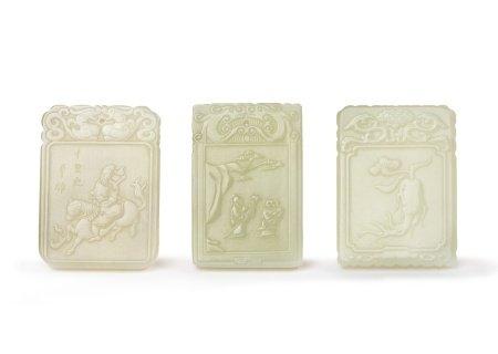 THREE CHINESE WHITE JADE PLAQUES