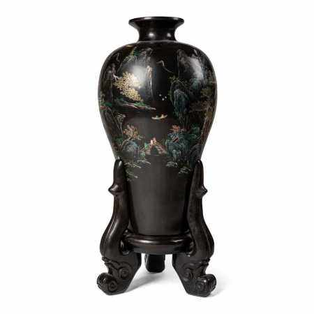 LARGE LACQUER WOODEN 'LANDSCAPE' VASE 20TH CENTURY