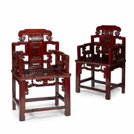 PAIR OF CHINESE HONGMU CHAIRS 20TH CENTURY