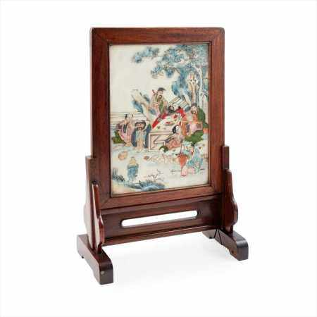 PAIR OF PAINTED MARBLE TABLE SCREENS QING DYNASTY, 19TH CENTURY