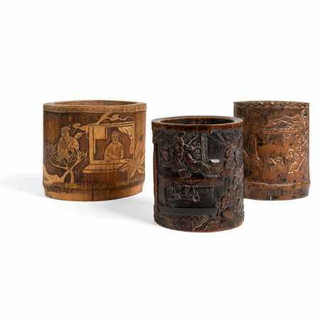 GROUP OF THREE BAMBOO BRUSH POTS 19TH-20TH CENTURY