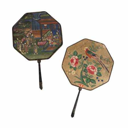 PAIR OF CHINESE FANS QING DYNASTY, 19TH CENTURY
