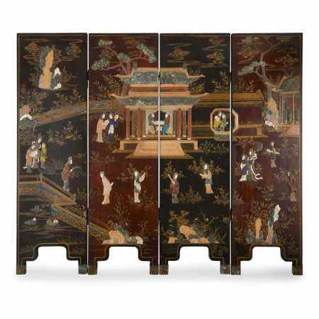 Y HARDSTONE INLAID AND LACQUER FOUR-FOLD SCREEN 19TH-20TH CENTURY
