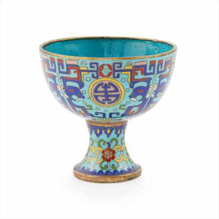 CLOISONNÉ ENAMEL STEM CUP LATE QING DYNASTY-REPUBLIC PERIOD, 19TH-20TH CENTURY
