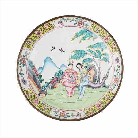 PAINTED ENAMEL DISH QING DYNASTY, 19TH CENTURY