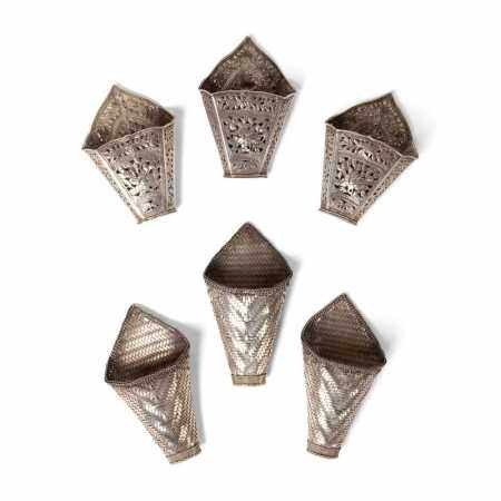GROUP OF SIX STRAIGHT CHINESE OR SOUTHEAST ASIAN BETEL LEAF HOLDERS 20TH CENTURY