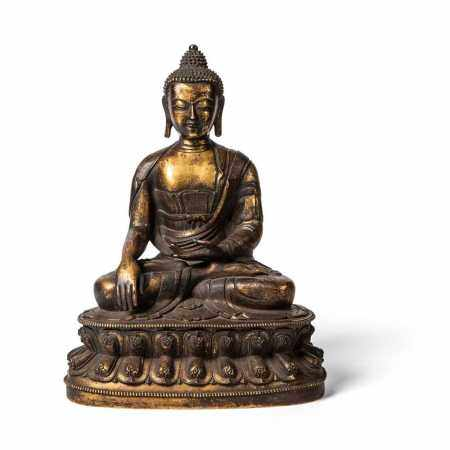 GILT BRONZE FIGURE OF BUDDHA SHAKYAMUNI QING DYNASTY