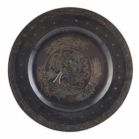 SILVER-INLAID BRONZE PLATE 19TH-20TH CENTURY