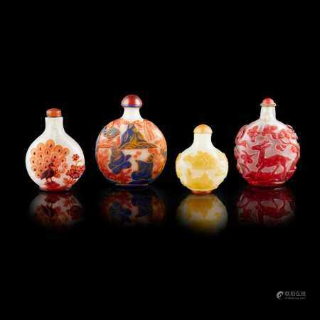 GROUP OF FOUR GLASS SNUFF BOTTLES