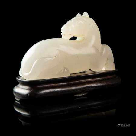 WHITE JADE 'HORSE' CARVING QING DYNASTY OR LATER