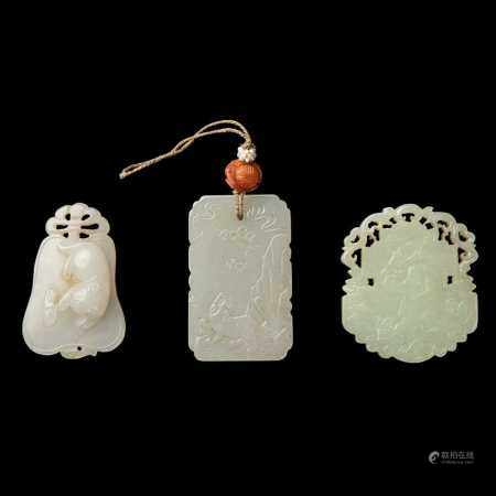 GROUP OF THREE JADE PLAQUES