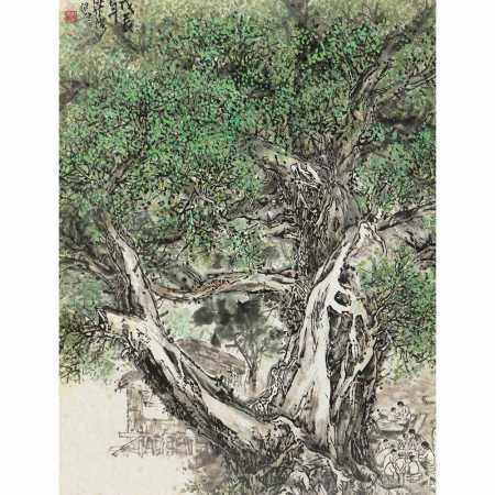 PAINTING WITH TREES BY LIANG WEIHONG, 20TH CENTURY