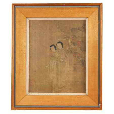 INK PAINTING OF TWO LADIES MING DYNASTY