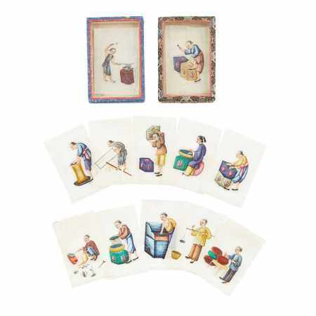 GROUP OF TWELVE CANTON SCHOOL MINIATURE PITH PAINTINGS OF FIGURES LATE QING DYNASTY-REPUBLIC PERIOD, 19TH-20TH CENTURY