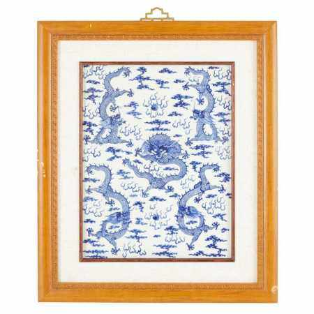 BLUE AND WHITE 'DRAGON' PLAQUE