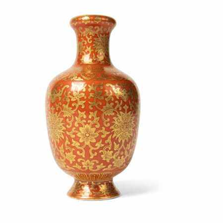 CORAL-RED GROUND AND GILT DECORATED VASE QIANLONG MARK BUT LATER