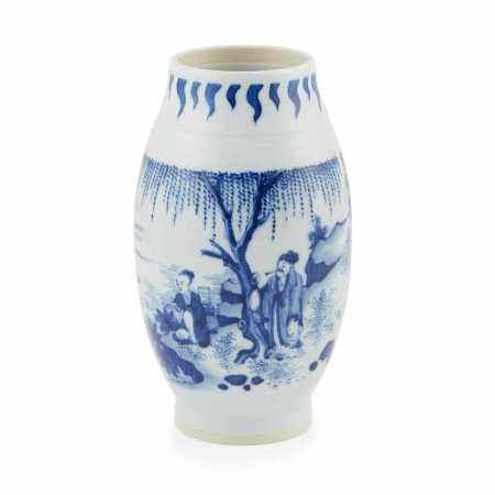 BLUE AND WHITE BALUSTER VASE TRANSITIONAL STYLE