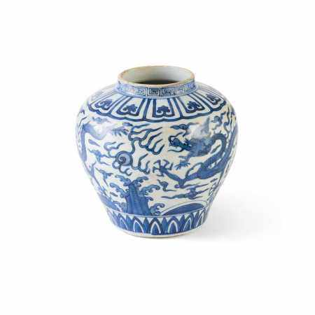 BLUE AND WHITE 'DRAGON' JAR WANLI MARK BUT LATER