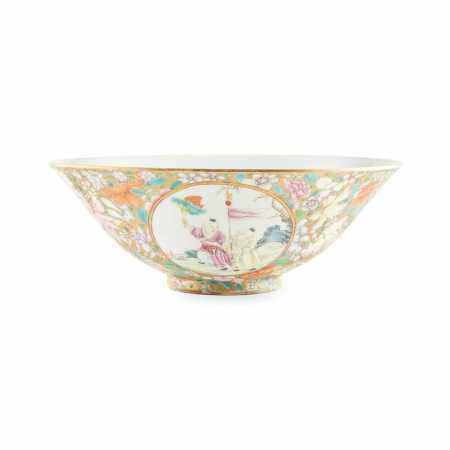 FAMILLE ROSE 'BOYS AT PLAY' BOWL QIANLONG MARK BUT REPUBLIC PERIOD