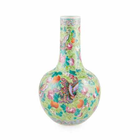 FAMILLE ROSE GREEN GROUND 'BUTTERFLY' BOTTLE VASE REPUBLIC PERIOD