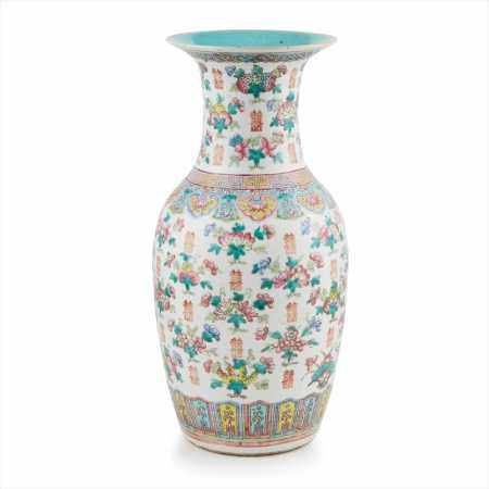 LARGE FAMILLE ROSE 'MARRIAGE' VASE QING DYNASTY, 19TH CENTURY