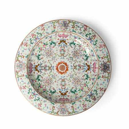 FAMILLE ROSE PLATE JIAQING MARK, 19TH CENTURY