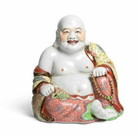 FAMILLE ROSE FIGURE OF BUDAI